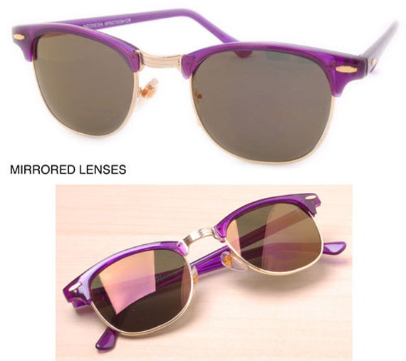 Vintage Purple Mirrored CM Style . Retro Purple Sunnies.  Cute Purple Sunglasses. Purple Shades