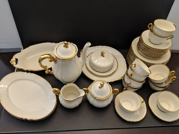 Antique Bavaria Germany Tea/Coffee Demitasse Set. Fine Porcelain White Gold Scalloped Tea Set. Schonwald Bavaria Luncheon Set. NOW ON SALE