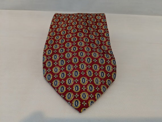 Vintage Kenneth Cole Neck Tie. Red-Navy-Gold Neck Tie by Kenneth Cole. 100% Silk Made in Italy Kenneth Cole Tie. Designer Neck Tie.