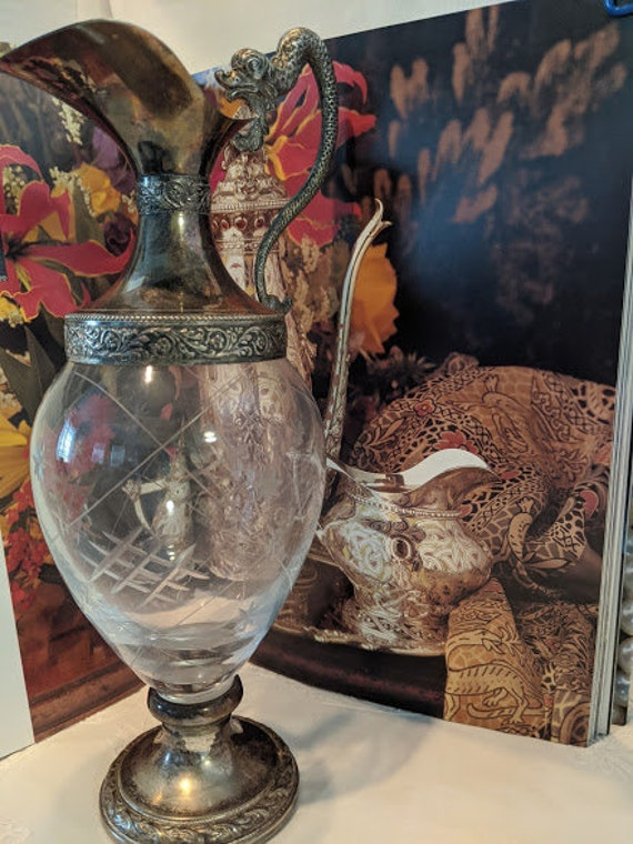 Antique Italian Crystal & Silver Plated Ewer With Cork.  Silver Plated Antique Decanter With Serpent Dragron Handle. Made In Italy Decanter