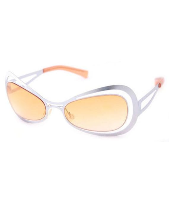 c46deb33bd6 Vintage Spacy Sunglasses. Orange tinted lenses. Silver Vintage