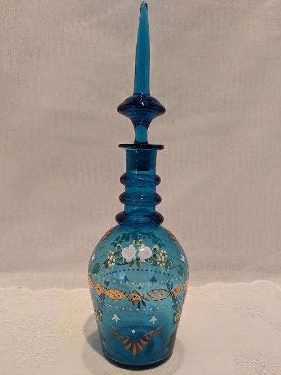 Vintage Hand Blown/ Hand Painded Bohemian Glass Decanter. Teal Blue Hand Painted Decanter with Flame Stopper. Collectible Bohemian Glass