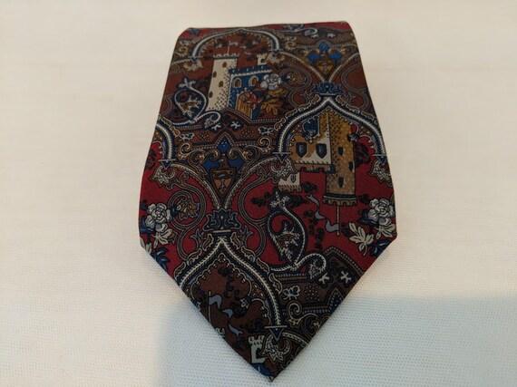 Vintage Christian Dior Silk Neck Tie. Christian Dior Monsieur Men's Neck Tie. Christian Dior Old Castle Print Silk Neck Tie. Classic Necktie
