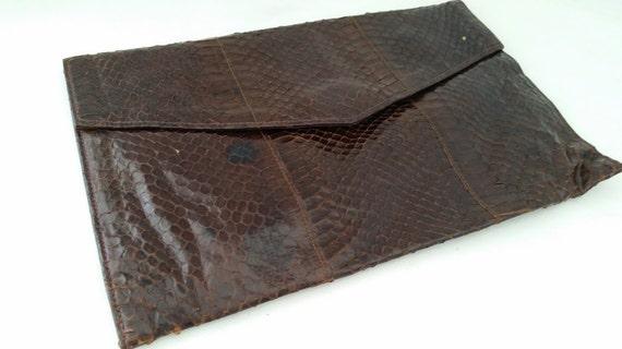 Vintage Snakeskin Envelope Style Clutch Bag, Envelope Snakeskin Clutch Purse