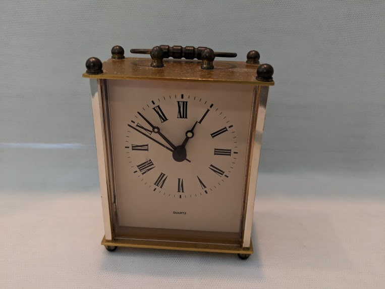 Vintage Gold Vintage Desk Clock Collectible Desk Clock Small Desk