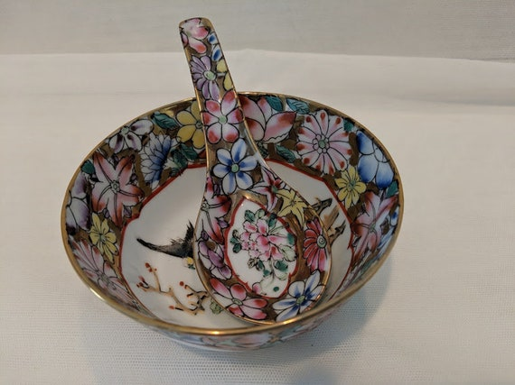 Vintage Chinese Porcelain Bowl and Spoon. Asian Rice Bowl and Spoon. Ceramic Floral Asian Rice Bowl and Spoon. Hand Painted Asian Porcelain