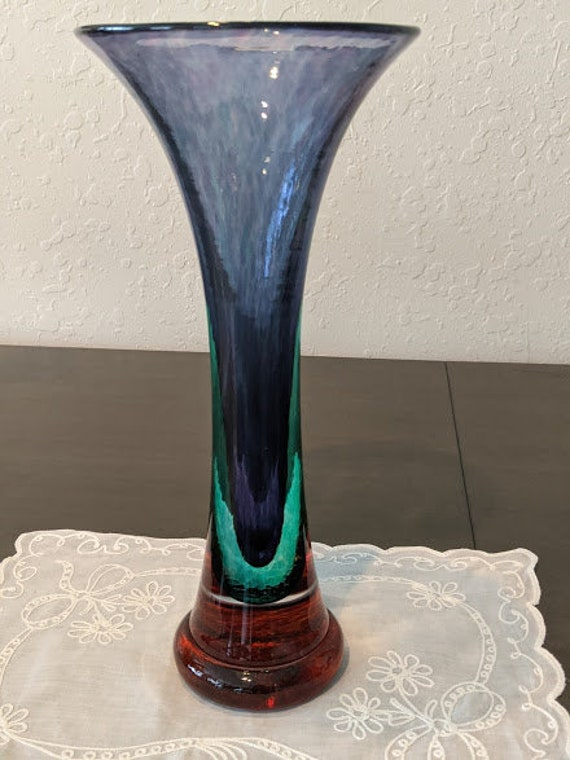 Vintage Young & Constantin Hand Blown Trumpet Vase. Young and Constantin Sormmerso Glass Vase. Purple/Blue Hand Blown Murano Style Vase
