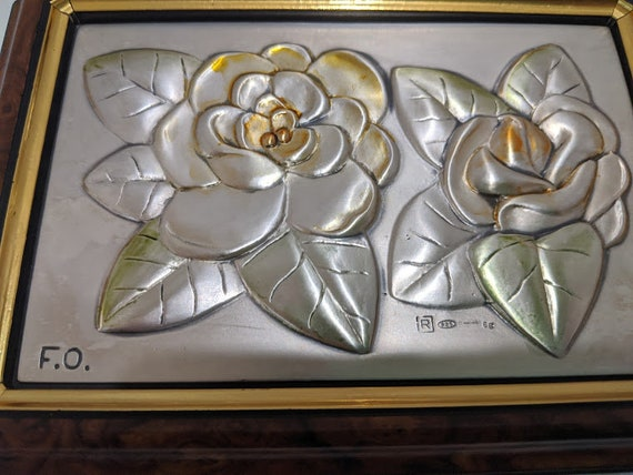 Vintage Wood and 925 Silver Jewelry Box. Wood Jewelry Box with Silver Flower Decor Made In Italy. Italian Wood and Silver Jewelry Box