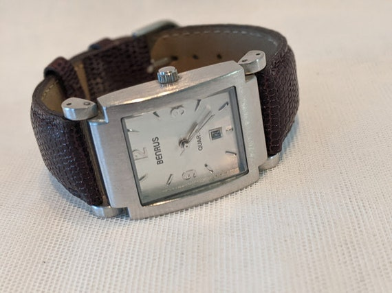 Vintage Benrus Brushed Silver Tone Watch. Benrus Silver Tone and Brown Leather Band Watch. Benrus Wristwatch Japan Mvmt  Calender Mint Cond.