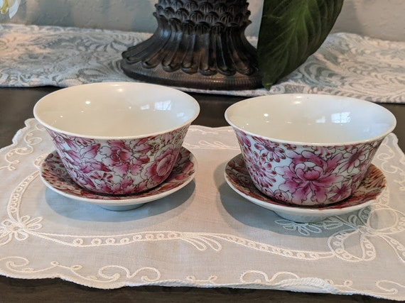 Vintage Pair Of Chinese Tea Cups and Bowl Saucers.  Hand Painted Floral Pattern Tea Cup Set.  Pink Floral Chinese Tea Cups.Porcelain teacups