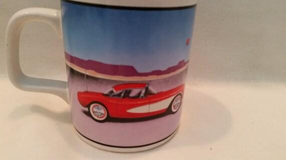 Collectible Series Vintage Corvette Mug.  1985 Plymouth Inc 57 Heaven.  Enesco Imported 1985. Collectible Coffee/Tea Mug. Red Corvette Mug