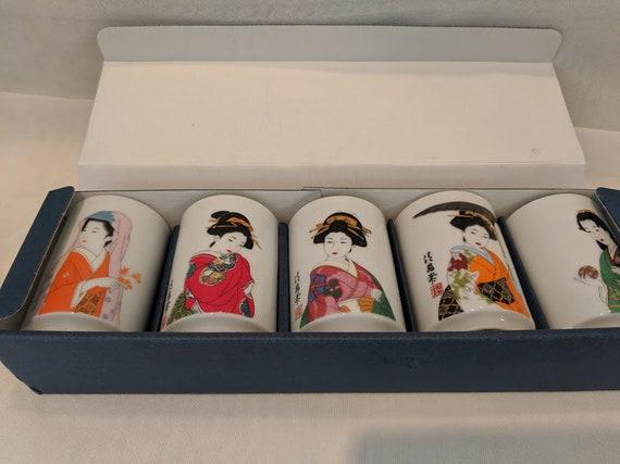 Vintage Geisha Girl Tea Cups. Set of Five Beautiful Geisha Girl Cups. Japanese Geisha Girl Porcelain Cups. Gift Set Geisha Girl Cups