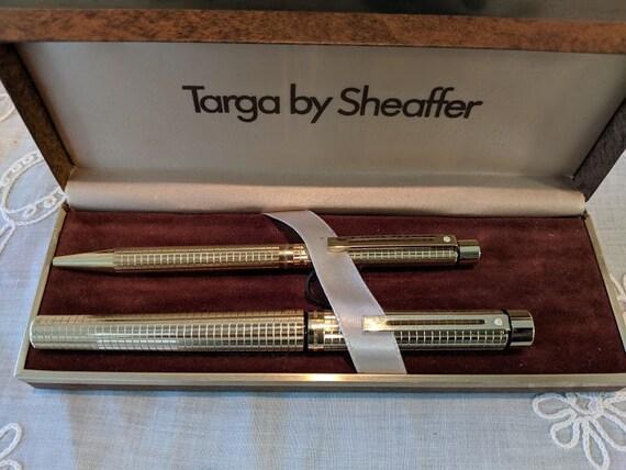 Vintage Targa Sheaffer Pen Set. Gold Plated Sheaffer Fountain Pen Set.  Sheaffer Targa White Dot Gold Pen Set. Barley Corn Pattern.