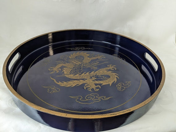 Vintage Large Round Lacquered Serving Tray.  Round Serving Tray Dragon Decor Made in Japan.  Navy Lacquered Japan Round Serving Tray