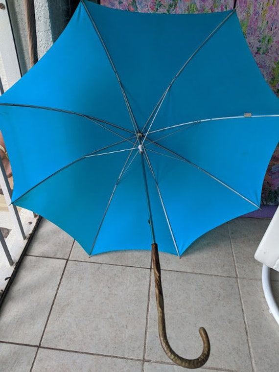 Vintage Polyester Blue Umbrella.  Parasol with Matching Sleeve Cover.  1960s Retro- Mid Century Modern Umbrella.