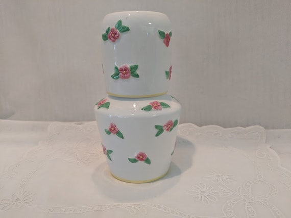 Vintage Bedside Water Carafe and Cup. Ceramic water decanter with Pink Flowers. White and Pink Bedside Water Decanter and Matching Cup