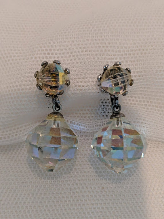 Vintage Aurora Borealis Vintage Crystal Drop earrings #2 . Clip On Crystal Hanging Crystal Earrings. Faceted and drop Crystal Earrings