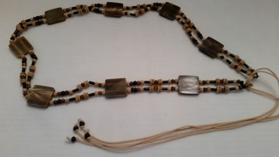Vintage Hippie Wood Beads Belt, Bohemian wood beaded belt. Double Stranded Wood and shell wrap belt. Boho Double Stranded wood bead belt.