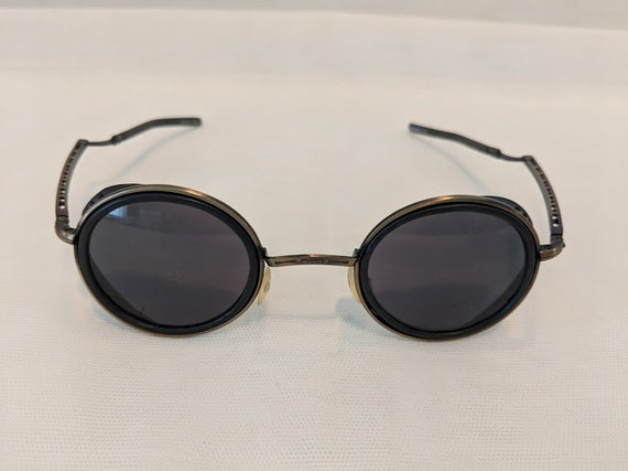 Vintage 1980s Steam Punk Antique Brass  Sunglasses. Round silver Steam Punk Sunnies. Sunglasses with side shield and Folding Arms. SALE SALE