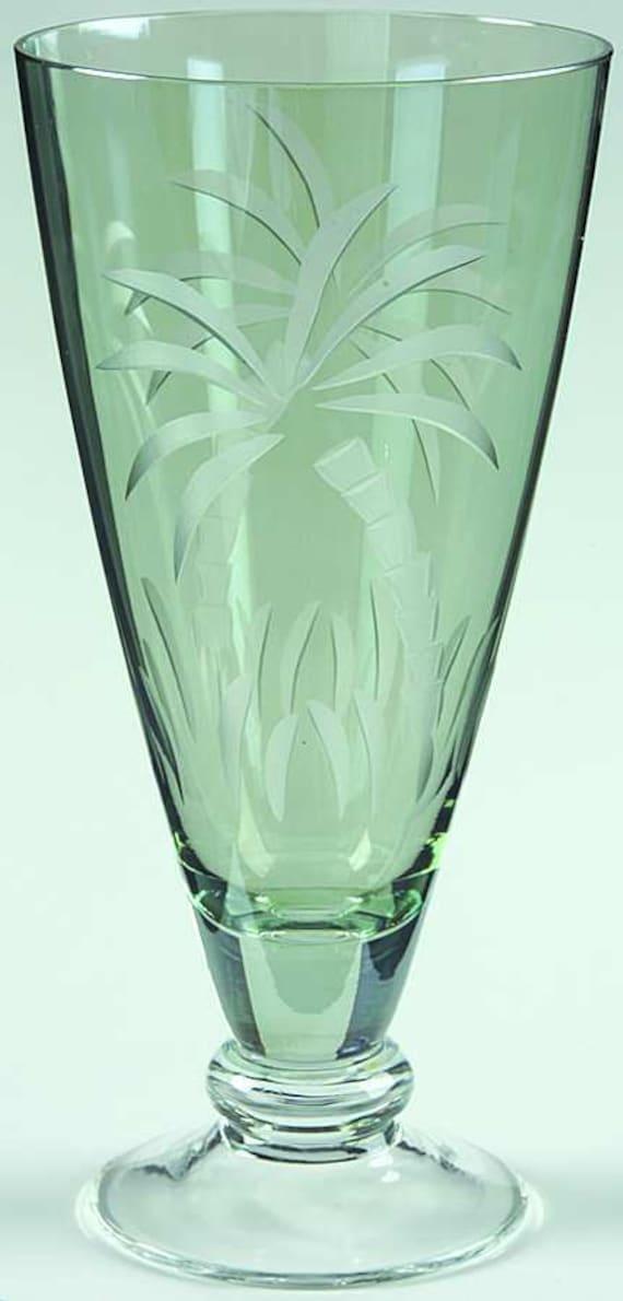 Vintage Lenox Blown Glass Ice Tea/All Purpose Tumblers. Lenox British Colonial Lush Palm Tree Pattern Glasses .Four Footed  Ice Tea Glasses