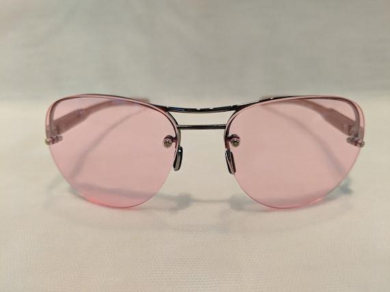 Vintage Aviator Pink Lenses, Semi-Rimless Aviator with Cool PINK Lenses. Hippie Style Aviator Sunnies. Retro Aviator Pink Lenses Sunglasses