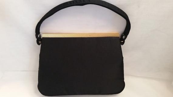 Vintage Koret Black Taffeta Formal Handbag. Koret Designer Formal Bag, Mad Men Style Evening Bag, Vintage Black Taffeta Formal Handbag (SALE