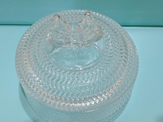 Studio Crystal Silversmith Jewelry Round Box. Butterfly Lid Round Crystal Trinket Box. Silversmith Crystal Round Keepsake Box.