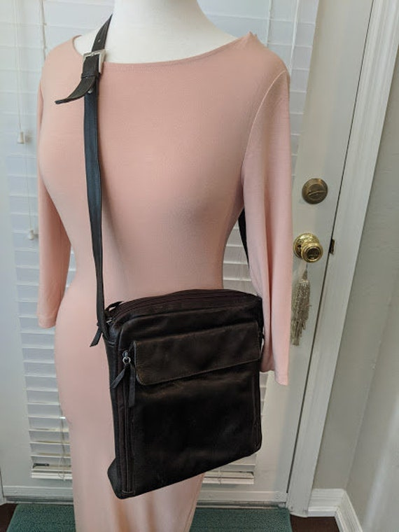 Vintage Tano Leather Messenger Bag.  Crossbody Leather Travel Shoulder Bag.  Dark Brown Soft Leather Shoulder Messenger Bag