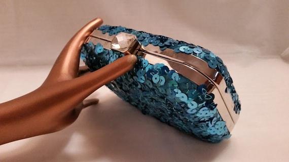 Jessica McClintock Formal Clutch. Teal SequinsEvening Handbag, Teal Blue Sequins Formal Bag. Hard Case Blue Sequins Formal Clutch. Cute Bag