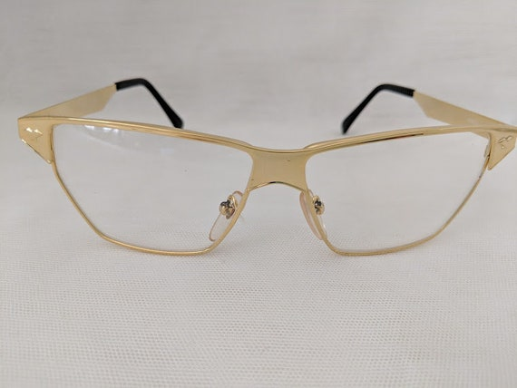 Vintage Police Inspire Gold Frames. Volgart Inspired Gold Eyeglass Frames. Designer Inspired Eyewear.  Gold Eyeglass Frame/Clear Lenses