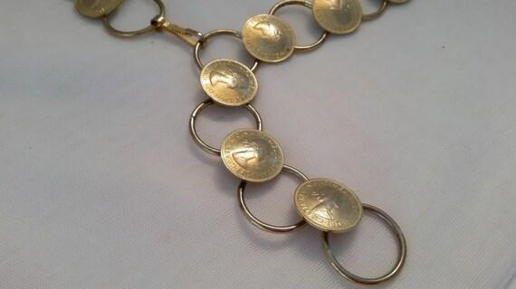 Vintage Regina Elizabeth 11 Dei Gratia Gold Tone Coin Belt. 1967 Half Penny Regina Elizabeth Gold Coin Belt. Sophisticated Coin Belt (SALE)