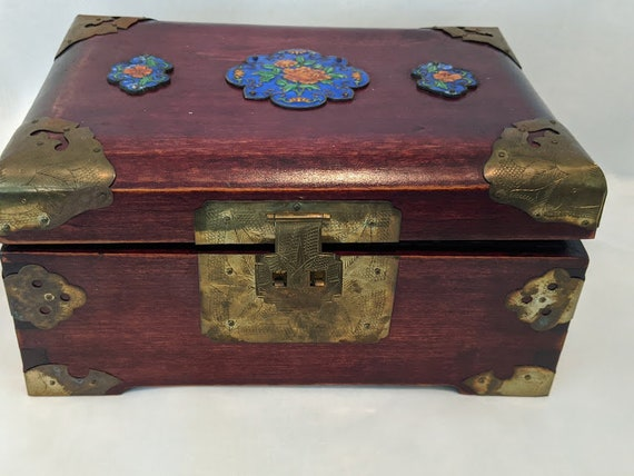 Antique Chinese Wood, Brass and Enamel Jewelry Box. Chinese Jewelry Box With Two Extra Locks.  Wooden Asian Jewelry Box And Blue Enamel