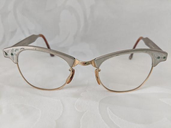 Vintage Artcraft Aluminum Cat Eye Frame. 12K GF 1/10 22MM Retro Horn Rimmed Antique Eyeglass Frame. Silver/Gold Cat Eye Metal Eyeglass Frame