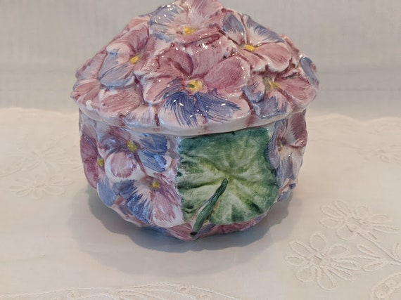 Vintage Porcelain Raised Floral Design Trinket Box. Ceramic Floral Keepsake Box Made in Italy. Pink And Blue Hydrangea Flower Embossed Box