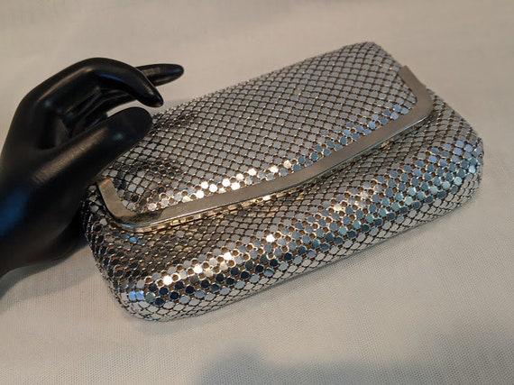 Vintage Y & S Silver Mesh Formal Bag. Silver Mesh Evening Clutch. Formal Mesh Silver Shoulder Bag. Mesh Bag With Silver Snake Chain.