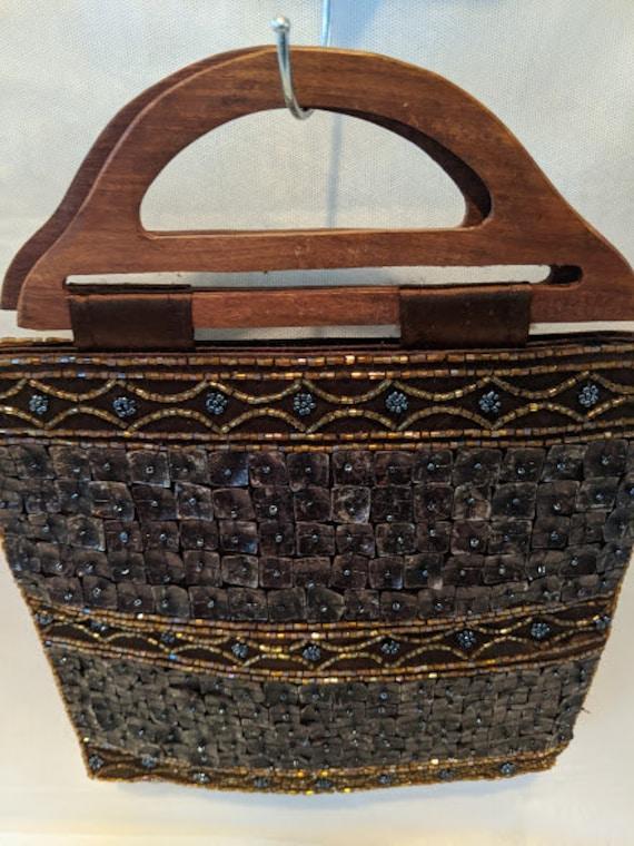 Vintage Brown Hand Sewn Shell And Beads Purse.  Shell and Satin Handbag With Wood Handle. Shell And Beads Purse. K & K Table Tops Handbag