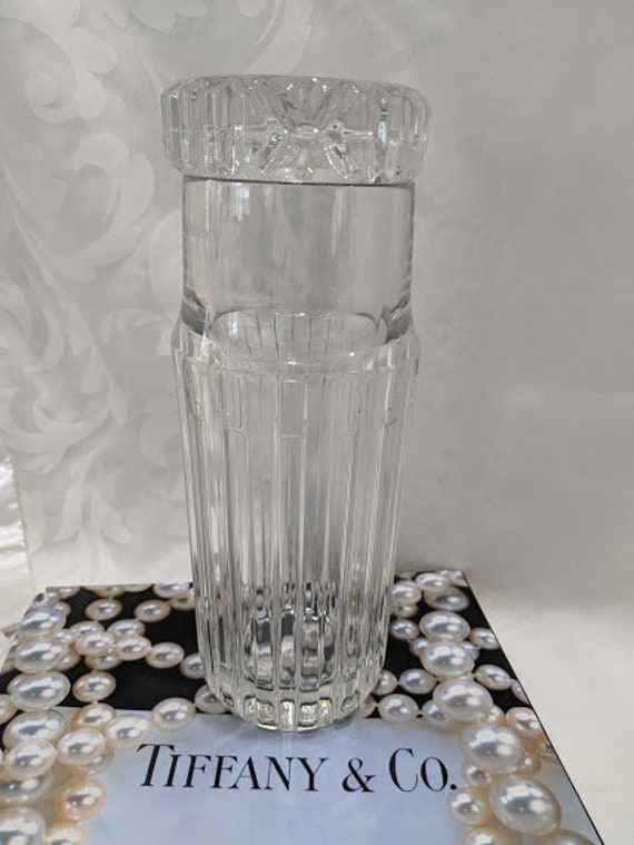 Vintage Tiffany and Co. Crystal Decanter. Tiffany Bedside Carafe and Glass Set. Heavy Crystal Carafe and Matching Glass.