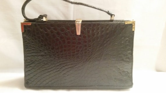 Vintage Croc Porosus Embossed Leather Handbag, Authentic Croc Embossed Made in France for Saxs Fifth Avenue. (SALE SALE SALE)