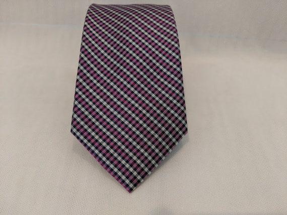Vintage Tommy Hilfiger Neck Tie.  Navy and Purple Neck Tie.  Tommy Hilfiger Tie with Square Geometric design. Cool Colorful Hilfiger Necktie