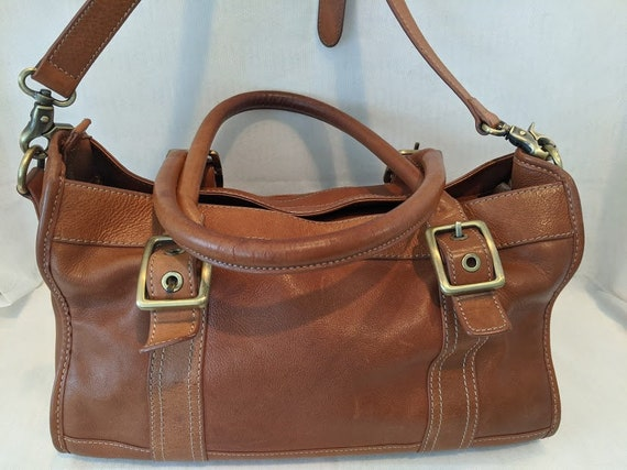 Vintage G.H. Bass & Co. Leather Tote Bag.  Bass On the Go Satchel. Tan Leather Small Duffel Bag.
