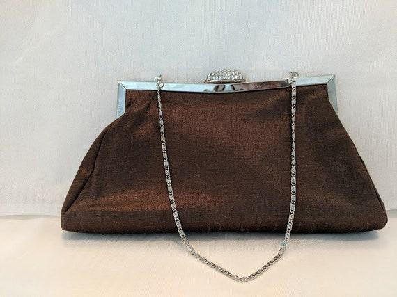 Vintage Dessy Group Evening Bag. Light Brown Satin Formal Clutch.  Light Brown Formal Wristlet Bag. Brown Silk Evening Purse