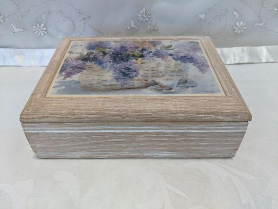 Vintage Grafic Art Tile Jewelry Music Box.  White Washed Oak Wood Tile Top Jewelry/ Music Box