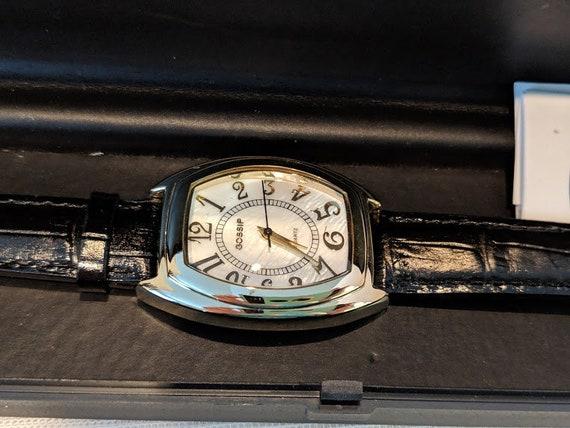 Vintage Women's Gossip Watch. Gold Gossip Wrist Watch. Large Numbers Quartz Ladies Watch. Black Leather Band Gossip Watch. Cute ClassicWatch
