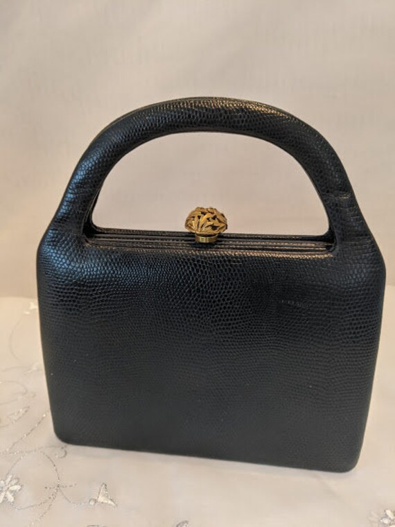 Vintage Murray Kruger Texured Leather Handbag. Black Leather Formal Top Handle. Midcentury Modern Little Black Handbag. Designer Quality Bag