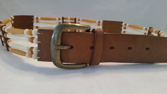 Vintage Leather And Beads Women's Belt. Hippie Leather Tan Belt with Beads Belt. Boho Leather Belt. Native American Style Belt. Cool Belt