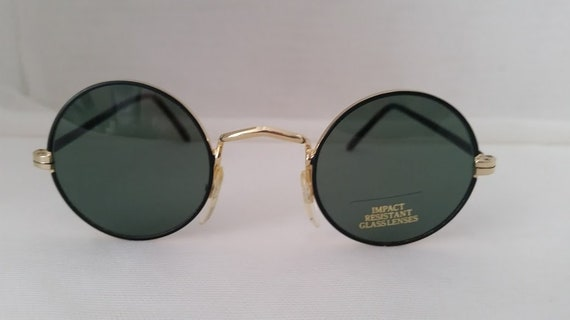 John Lennon Round Shades. Black/Gold  Small Round Sunglasses. Vintage Round Glasses. Impact Resistant Classes. Perfect Circle Sunnies
