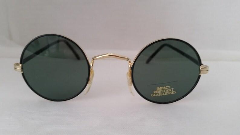 9053ee222a44 John Lennon Round Shades. Black Gold Small Round Sunglasses.