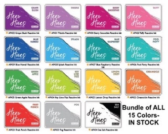 Hero Arts REACTIVE INK PADS- Set Bundle of All 15 Colors (In Stock)- Ships Free