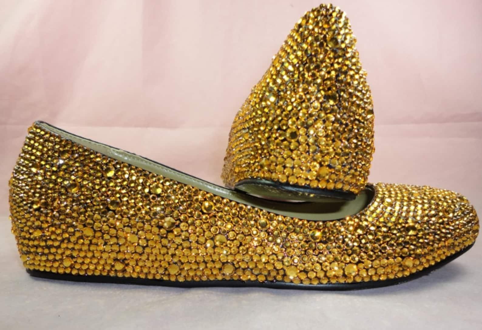 classic golden crystal ballet flat sale!