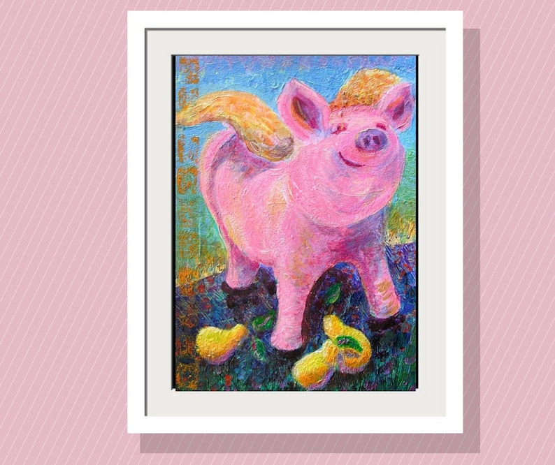 Kids Wall Art Angel Pig and Pears Art Print 10 x14 Limited 14 x 10 inches